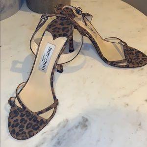 """Strappy leopard Jimmy Choo 4"""" stiletto heels"""